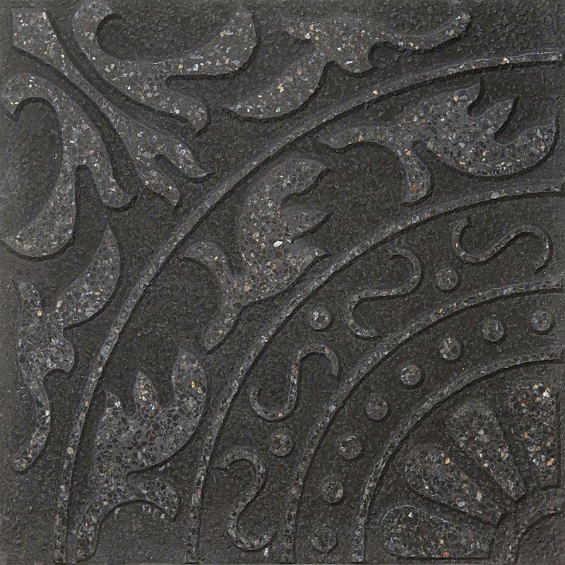 Loseta Flor De Lis Verde Alpes / Negro (40 x 40)